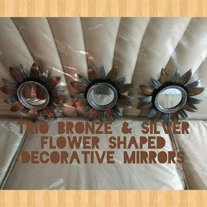 Trio bronze & silver decorative set of mirrors